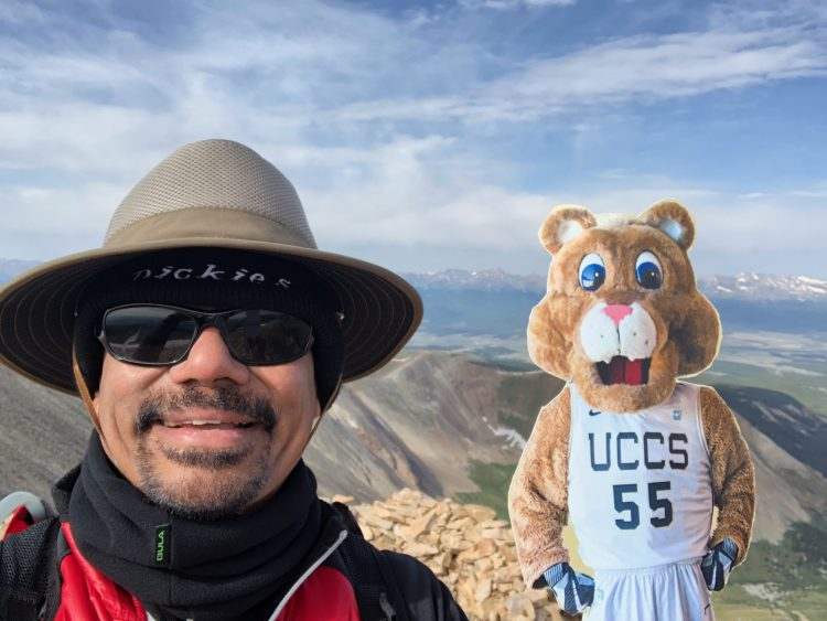 Chancellor Reddy with #FlatClyde as he summited Mount Sherman and Mount Sheridan.