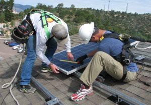 Solar panels installed on the Sustainability Demonstration House