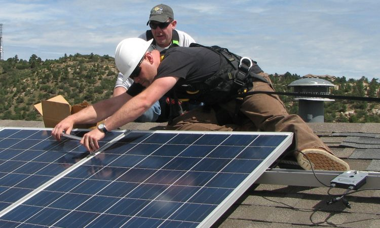 Installation of solar panel at Sustainability Demonstration House