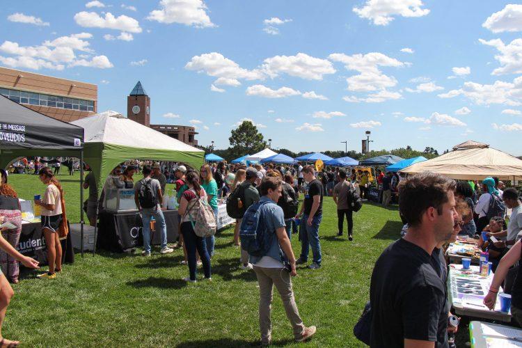 Students visiting at the 2019 Club Fair