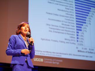 Tatiana Bailey speaks at the UCCS Economic Forum
