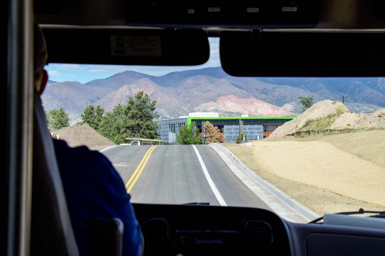 A bus driver on Spine Road