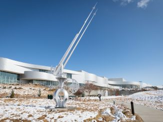 """Metronome"" shines at the Ent Center following an October snow storm."