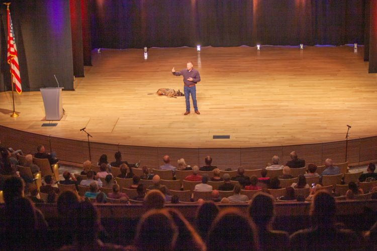"Mark ""Oz"" Geist speaks at the Ent Center for the Arts"