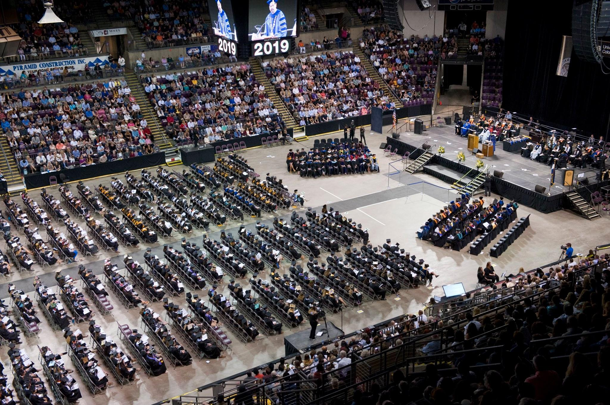 A high angle view during the spring 2019 afternoon commencement ceremony
