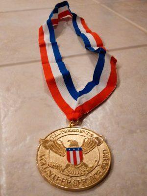 Ma's medal for the President's Volunteer Service Award