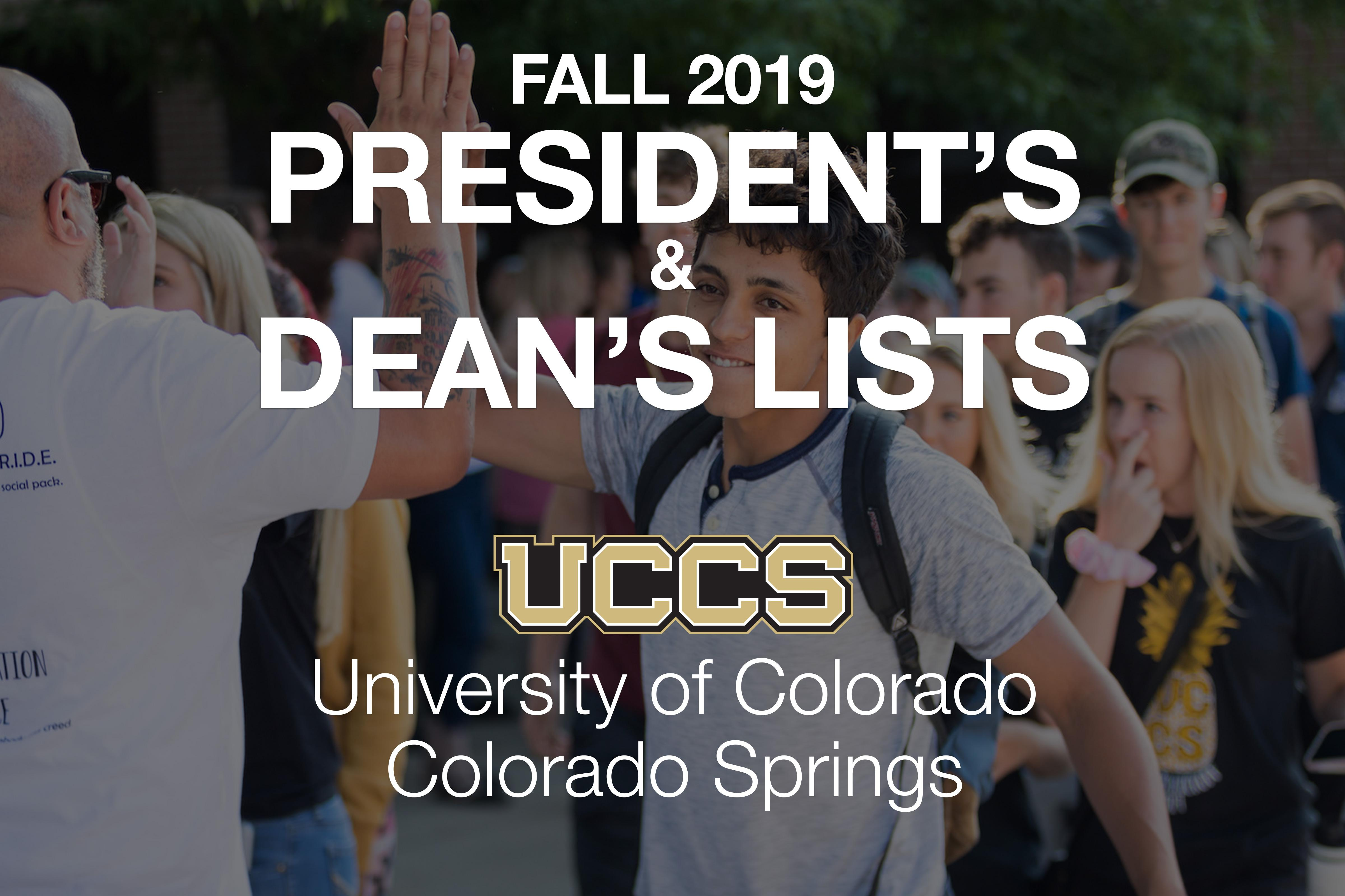 Fall 2019 President's and Dean's List graphic