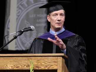 Mike Fryt addresses graduates at commencement