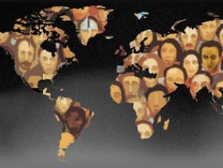 Faces within outlines of the continents