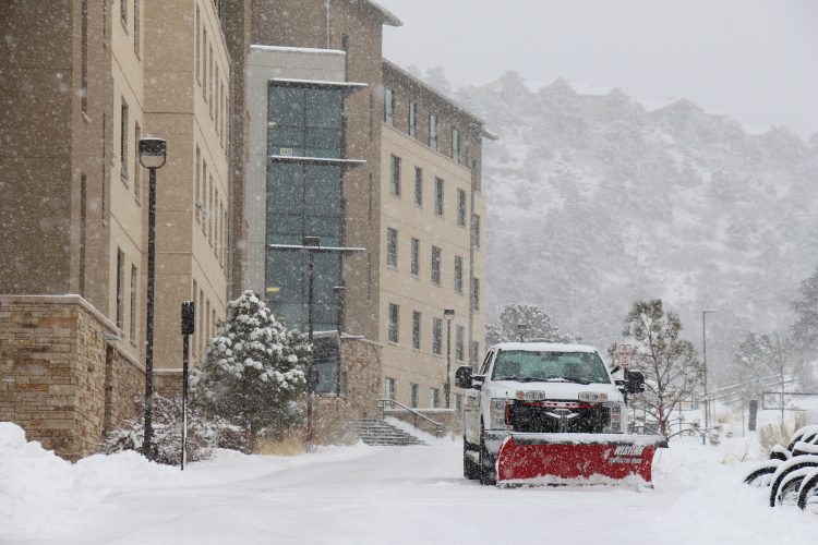 A plow clears snow in the Village at Alpine Valley at UCCS on Feb. 7, 2020.