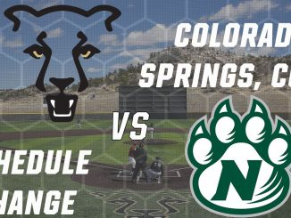 Logos of UCCS and Northwest Missouri State for a schedule change graphic