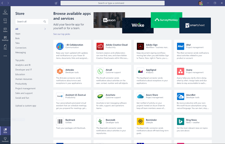 Screenshot of Microsoft Teams with different integrations