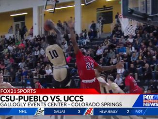 A screenshot from the UCCS and CSU-Pueblo men's basketball game.