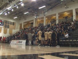 The UCCS and CSU-Pueblo teams huddle during a timeout in the Gallogly Events Center