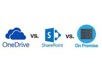 Icons of storage solutions on campus: OneDrive, SharePoint and On Premise