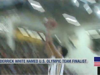 Screenshot of Derrick White going for a dunk