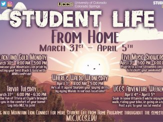 Promotional flyer with dates and times for Student Life from home week