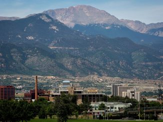 Downtown Colorado Springs with Pikes Peak in the background