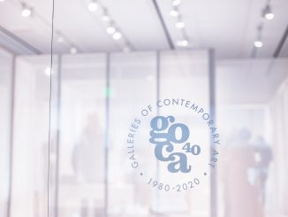 GOCA 40th Anniversary logo on a pane of glass