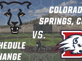Logos with UCCS and Dixie State in front of a picture of Mountain Lion Park.