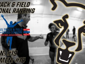 Graphic with national track rankings for men's and women's teams