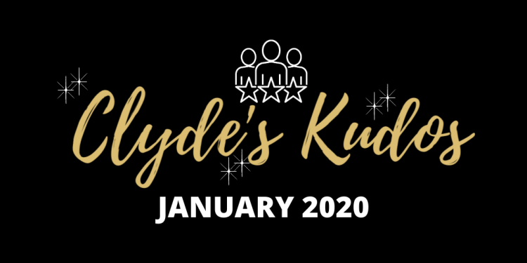 A black banner with gold script advertising the January 2020 edition of Clyde's Kudos.