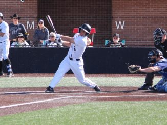 Evan Richards swings at home plate at Mountain Lion Park