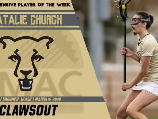 RMAC Player of the Week graphic with an action picture of Natalie Church carrying the ball in her stick