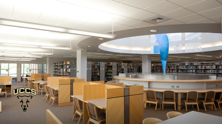 The study area on the top floor of the Kraemer Family Library
