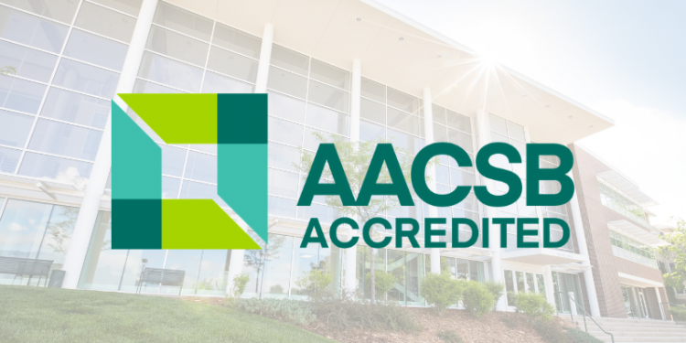 AACSB accreditation logo with a faded picture of Dwire Hall in the background