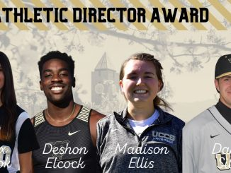 Headshots of Alex Cook, Deshon Elcock, Madison Ellis and Daniel Silva for the Athletic Directors Award graphic