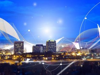 A photo and graphic illustration of the Colorado Springs skyline with graphics representing cybersecurity
