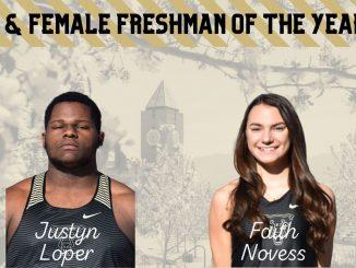 Headshots of Justyn Loper and Faith Novess as the Freshmen of the Year