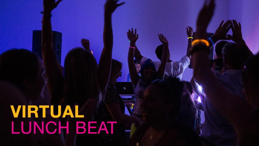 A group of people dancing with text for the virtual lunch beat