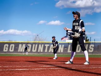 Peyton Resiman yells from first base at Mountain Lion Field