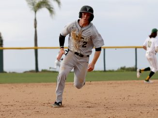 Matt Clarke running to third base