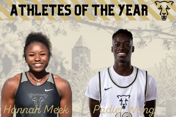 Headshots of Hannah Meek and Padiet Wang with a graphic for the 2020 Athletes of the Year