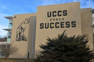 South side of Cragmor Hall with the UCCS fuels Success mural