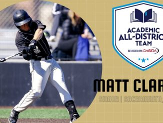 Matt Clarke swinging the bat with graphics for the Academic All-America program