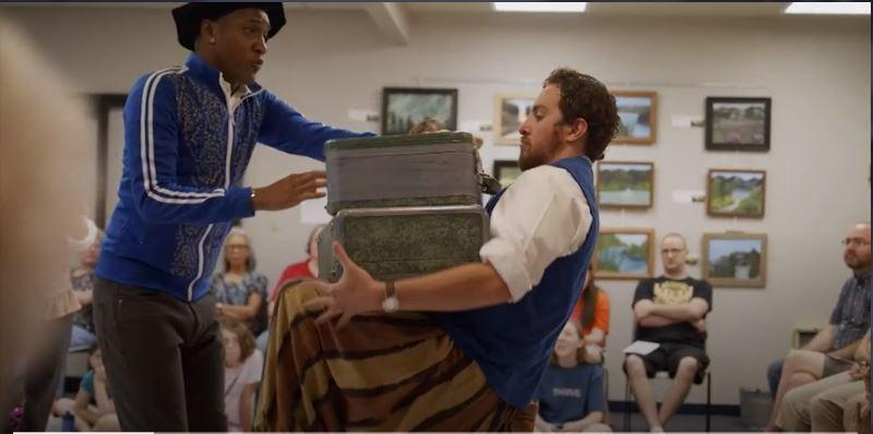 Cast members present Shakespeare in a community room