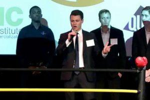 Lee Haider presented at a Get in the Ring startup event