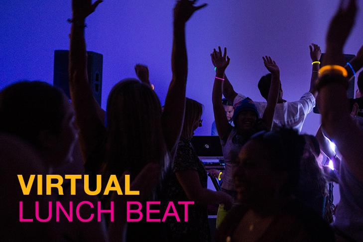 People dancing with the text for virtual lunch beat