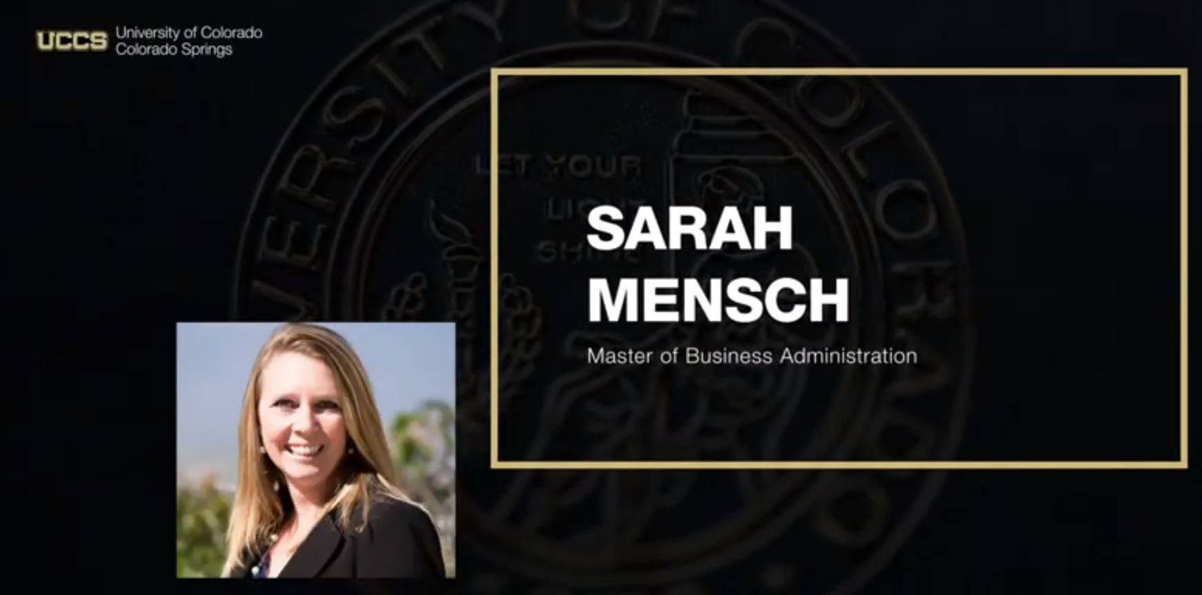 Sarah Mensch recognized for earning her MBA