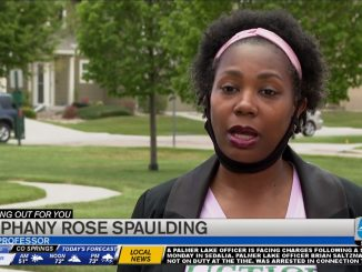 A screenshot of Stephany Rose Spaulding being interviewed by KOAA