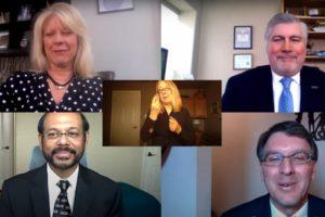 Screenshot of five people participating in a virtual town hall