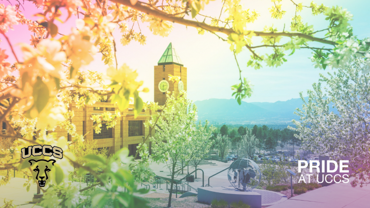 Campus view with rainbow overlay