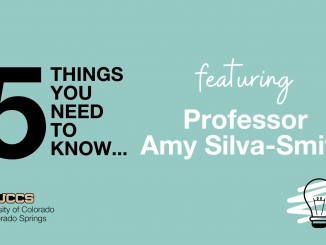 "Graphic with text ""5 Things You Need to Know featuring Professor Amy Silva-Smith"""