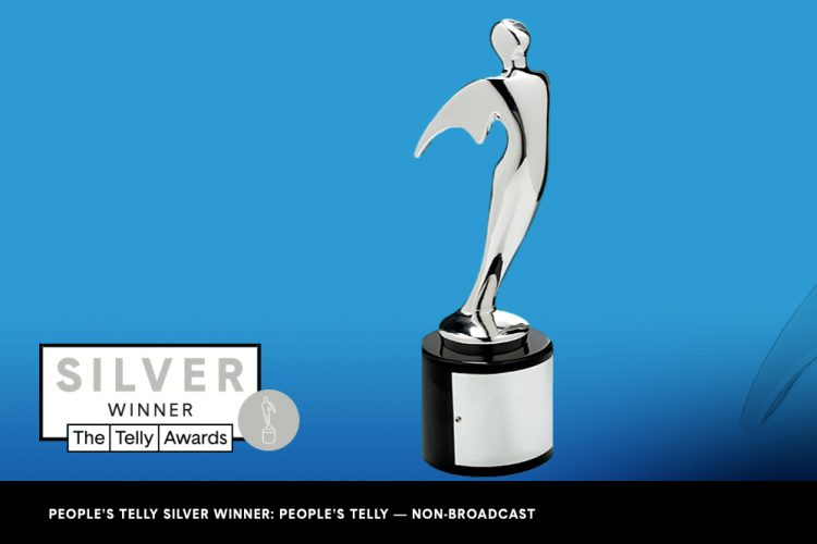 A Telly Award statute on a blue background