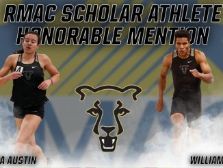 Action photos of Maia Austin and Will Ross with the RMAC logo in the background