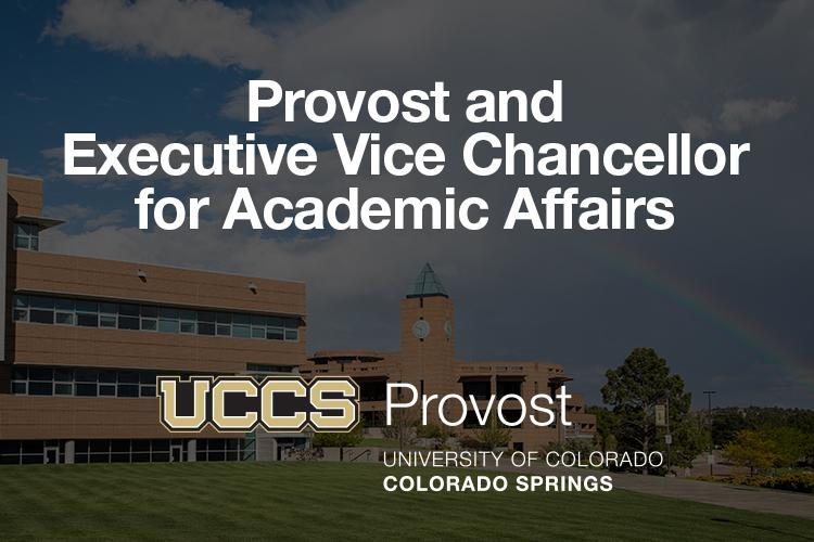 Search graphic for the provost and executive vice chancellor for academic affairs